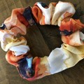 Apricot Floral Cotton Linen Scrunchies
