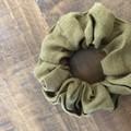 Olive Cotton Linen Scrunchies