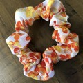 Apricot and Yellow Floral Cotton Linen Scrunchies
