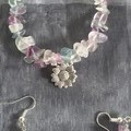 Purple, green and clear bracelet and earring set made from stones