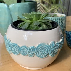 Turquoise Swirl Planter