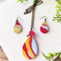 Minimalist Boho Fine Jewelry Polymer Clay Statement Earrings Necklace Set