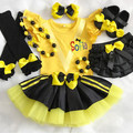4pcs set Personalised Yellow Wiggles inspired outfit- yellow and black tutu set