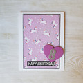 Birthday Age Card , Unicorn Birthday Card