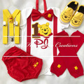 4-pc Winnie the Pooh Inspired boys Birthday outfit-Top,bottom,shoes,Bowtie