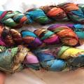 Recycled silk metallic thread borders