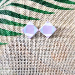 Geometric Minimalist plaid Polymer Clay Statement Stud Earrings
