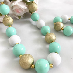 Little Girls Chunky Bubble Gum Emerald green and Gold Necklace Bracelet ,baby ne