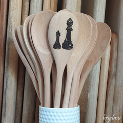 Wood Burnt Chess Pieces Wooden Spoon