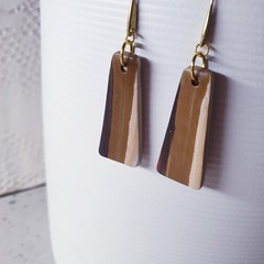 WOODGRAIN chocolate caramel brown stripe dangle polymer clay earrings
