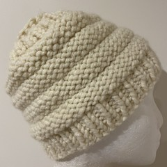 Knitted cream messy bun ponytail beanie