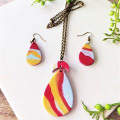 Minimalist Boho Fine Jewelry Polymer Clay Statement Earrings Necklace Set