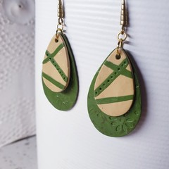 ACADIA abstract olive green cream minimalistic polymer gift earrings floral