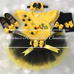 3-pcs set Personalised yellow and black outfit- yellow and black tutu set
