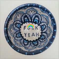 F*ck yeah bowl gift, unique handmade blue and turquoise painted