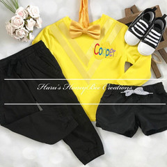 3-pcs Personalised yellow Wiggles inspired outfit