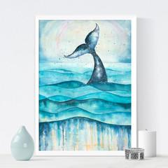 Whale Art, Watercolour Whale, Printable art, Digital download, Printable