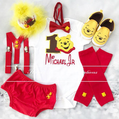 3-pc Personalised Winnie the Pooh Birthday outfit-Top,bottom,Suspenders