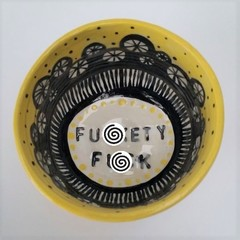 F*ckety f*ck bowl gift, unique handmade yellow and black painted