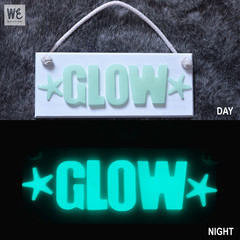 Personalised GLOW IN THE DARK Hanging Name Board | AQUA