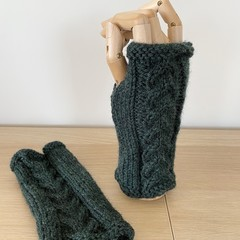 Green Cabled Fingerless Mittens - Hand knitted in Pure wool