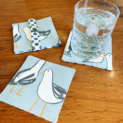 Fabric coasters, seagull coasters, bird coasters, coaster set