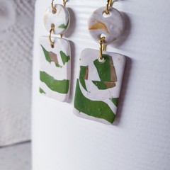 HARMONY abstract olive green white minimalistic polymer gift earrings simplistic