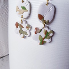 WILLOW- florals- neutral sage white brown camel dangle drop earrings