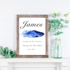 Custom Name Meaning Print, Digital, Blue feather watercolour , personalised gift