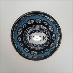 F*ck bowl gift, unique handmade turquoise and black gift
