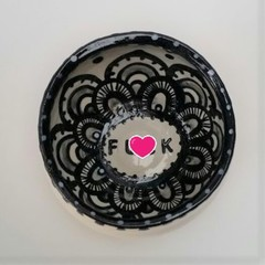F*ck bowl gift, unique handmade black and white gift