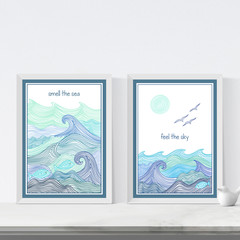 Set of 2 Ocean Art Printables, Printable art, Instant download, Sea theme