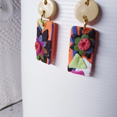 FIORELLA floral long beautiful orange polymer clay dangle drop earrings