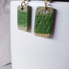 DEW minimalist small drop green textured clay gold earrings studs