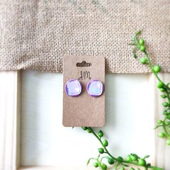 Geometric Minimalist Modern Marble Polymer Clay Statement Stud Earrings