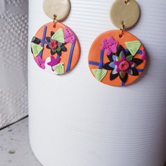 FIORELLA floral big beautiful orange polymer clay dangle drop earrings round