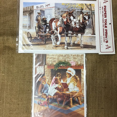 Paper Tole Prints - horse and cart/teddies
