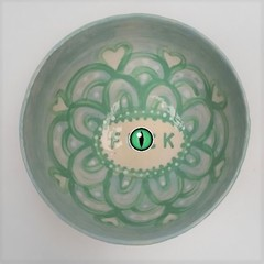 F*ck bowl gift, unique handmade jade / pale green gift