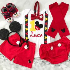 2-pcs Set Personalised Mickey Inspired Birthday mickey ribbon suspenders outfit-