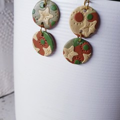 ARIZONA neutral sage green rust brown camel dangle drop earrings