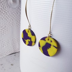 PYLA cotemporary minimalist yellow purple swirly clay earrings long dangle gold