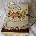 A Basket of Flowers handmade coptic stitched journal