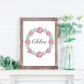 Custom Name Print, Watercolour Pink Rose Wreath, Personalised Gift, Art Print