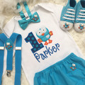 3pc set Giggle and Hoot inspired boys Birthday outfit- includes personalised Top