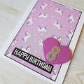 Birthday Age Card , Unicorn Birthday Card