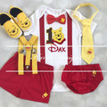 4-pc Winnie the Pooh Birthday outfit-Top,bottom,Bowtie,Suspenders