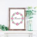Pink Rose Wreath Personalised Name Print, Watercolour, Digital Print, Custom