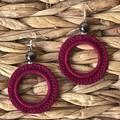 Crocheted Crimson Hoop Earrings