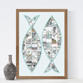 Fish Collage Printable, Instant download, Digital download, Two fish, Sea print,