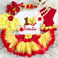 3-pc set Personalised Winnie the Pooh Birthday outfit-Top,skirt,headband